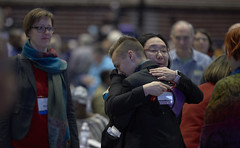 Embrace at 2019 General Conference (United Methodist News Service) Tags: unitedmethodistchurch generalconference gc2019 debate discussion man delegate sexuality homosexuality lgbtqia hug embrace woman stlouis missouri unitedstates usa