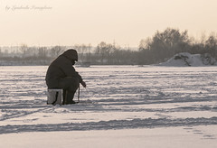 Winter fishing (Lyutik966) Tags: human man fisherman snow river nature fishingrod clothes hobby enthusiasm russia tree