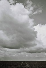 Big Skies (2), Avebury, April 2016 (Mano Green) Tags: big skies cloud sky field track black white avebury wiltshire england april spring 2016 canon canonet 28 ilford xp2 super 400 35mm film