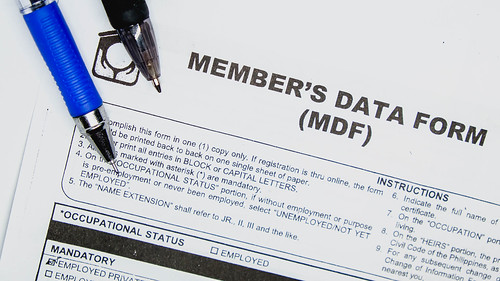 Closeup of data form document on white surface