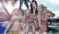 Family get together (VelesNeverwinter) Tags: me serena willow cameolove mesh bikini beach sun glare maitreya slink avie sl second life family siblings