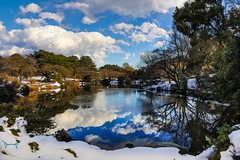 Shinjuku Gyoen Park Walk (GunnarImages (Gunnar Haug)) Tags: landscape asia bench water city lake snow pond sun blue reflection tree love green forest winter pretty bridge park tokyo forestpark japan ice