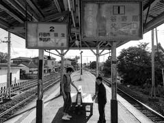 mother and son (peaceblaster9) Tags: station summer people shadows saitama 埼玉 行田市 japan blackandwhite bnw bw blackwhite 白黒 モノクロ iphone 駅