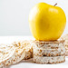 Crispy dietary fitness bread with an apple