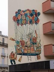 ADEC (tomatokid99) Tags: graff graffiti streetart urbanart mural mur montpellier france hérault adec ballon immeuble sprayart bateau boat