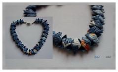 """ORANGE VISITS BLUE"" (Fimeli) Tags: halskette necklace polyclay polymerclay beads handmade handwork"