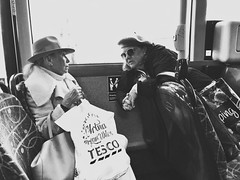 There's things I could say... (Rob Pearson-Wright) Tags: tesco's streetphotography street shotoniphone iphone7plus iphoneography candid blackandwhite bw hats ladies gossip