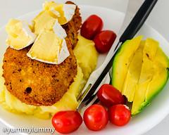 Oven-baked crumbed pork chop with potato mash. (garydlum) Tags: avocado brie mashedpotatoes pork porkchop tomatoes canberra australiancapitalterritory australia au