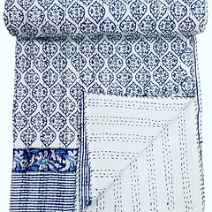Excited to share this item from my #etsy shop: white block  print Indian kantha Quilt original handmade Indian patchwork kantha quilt Bedspread RALLI Cotton Handmade Home Décor Kantha https://etsy.me/2JqniPJ (sumonik.creation) Tags: etsy