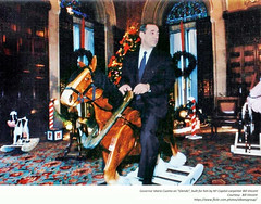 "1984 Governor Mario Cuomo in the Red Room in NYS Capitol on a clydesdale rocking horse made by Capitol carpenter  Bill Vincent.  Cuomo named her ""Glenda"" (albany group archive) Tags: 1980s nys capitol christmas old albany ny vintage photos picture photo photograph history historic historical"