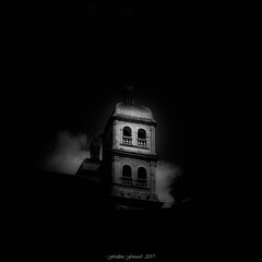 Black Spirit (Frédéric Fossard) Tags: dark monochrome noiretblanc blackandwhite église clocher cathédrale belltower tourcarrée coupole dôme briançon hautesalpes fondnoir lumière light ombre shadow abstrait surréaliste surreal abstract atmosphère mood monument collégiale