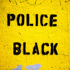 Police Black (Thomas Hawk) Tags: america california clarionalley flickrphotowalk mission missiondistrict photowalk sanfrancisco usa unitedstates unitedstatesofamerica westcoast black graffiti police stencil