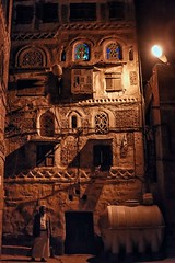 Sana'a Night (Rod Waddington) Tags: middle east yemen yemeni sanaa city streetphotography street tower house towerhouses man architecture building water tank culture cultural
