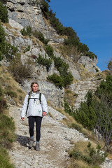 The Lady & the Mountain (ale.colombarolli) Tags: canon landscape mountain lady girl photography canonitalia nature green sky trekking trail vegetation beautiful paesaggio roccia erba cielo montagna versante della