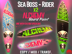 ALCHEMY Paints for SeaBoss Rider by REDSUN (cuuka) Tags: secondlife second life sl redsun red sun sea boss rider surf board custom paint alchemy pink green white blue specular effect shop buy full perm