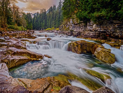 eagle falls-4569ps logo (Light of the Moon Photography) Tags: eagle falls skykomish river north cascades long exposure white water sunrise washington state