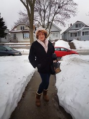 Winter In Wisconsin (Laurette Victoria) Tags: snow winter milwaukee boots leggings coat gloves hat scarf woman laurette