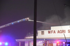 Fire - MFA Agri Services (Adventurer Dustin Holmes) Tags: firefighting fire mfa mfaagriservices lacledecounty lebanonmo lebanon lebanonmissouri missouri emergency event events news photography structure business building night february 2019 downtown smoke smoky smokey lowlight emergencyvehicle emergencyvehicles vehicle vehicles laddertruck damage water pole sign signs outdoor burned burning firefighters firefighter truevalue damaged destroyed