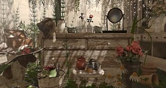 Just Around the Corner.... (kellytopaz) Tags: spring arcade granola tlc dogs pointer pups garden flowers rose hat rustic gardening pots second life virtual living
