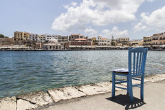 Chania Chair (Cristiano Drago) Tags: cristianodrago canon 650d grecia greece creta chania chair sedia blue blu lightblue azzurro sky cielo nuvole clouds trip viaggio nationalgeographic creete island isola