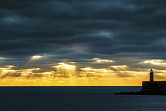 the rays2  1 (photoautomotive) Tags: newhaven eastsussex england uk europe englishchannel 35350l canon clouds 7d lighthouse lights sea sussex sunrise rays sunrays