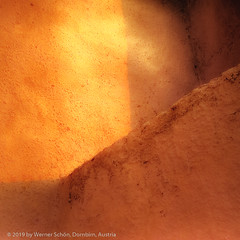 Late afternoon sun on a wall, Santorini, Greece (WernerSchoen) Tags: santorini thira greece europe orange wall light sun analog film yashica 6x6 abstract kykladen cyclades fuji licht schatten santorin quadratisch minimalistisch minimalistic