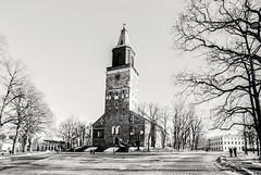 Turku Cathedral, Finland (m.pertti) Tags: landscape architecture history church travel street tree blackandwhite monochrome film ilfordxp2 turku finland