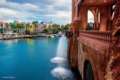 Atlantis Marina Water Fountains (John Piekos) Tags: resort railing tamr harbor boats paradise colorful caribbean fountain fun vacation stonework colors channel bahamas paradiseisland shellfountain atlantis