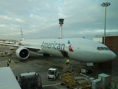 201903032 London Heathrow airport with American Airlines airplane (taigatrommelchen) Tags: 20190313 uk london boroughofhillingdon sky clouds airport tower airplane lhr egll aal