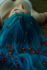 Ninfa azul II (sofiasagercarre) Tags: session retrato photoshoot blue hair woman flores naturaleza hierba landscape campo rio catamarca argentina