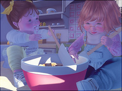Let's bake! (daisypea) Tags: flickr spam art daisy crowley secondlife second life sl roleplay toddler child kid children tot td bebe bad seed toddleedoo colour color draw paint crayon photo photography picture rp cute sweet adorable baby little girl daughter sister family look day lotd landscape school create creativity creative baking bake cookies cookie dough chocolate chip bestie sissy