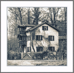 Das Haus im Wald (Fr@nk ) Tags: zww bw tones color duotones mrtungsten62 frnk wald haus limburg square europ12 europe flowsporer deutschland germany green flora concrete interesting blackandwhite monochrome balcony