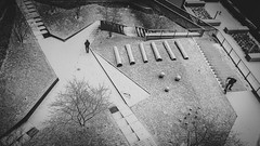 a short, morning story (ignacy50.pl) Tags: blackandwhite monochrome snow winter architecture building people composition graphic cityscape warsaw