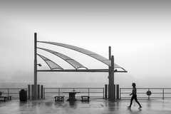 Foggy Morning, Redondo Beach Pier (crabsandbeer (Kevin Moore)) Tags: 2018 california landscape losangeles november october trip wedding fog weather rain mist gray mono monochrome bw blackandwhite jogger people person alone solitude boardwalk beach mood pacific ocean walk stroll morning sails haze hazy street candid