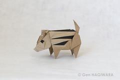うり坊 / Wild boar piglet (Gen Hagiwara) Tags: origami paper folding papercraft craft art aimal genhagiwara pig wildboar boar piglet