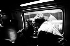 First Class Kiss (Harald Philipp) Tags: train sbb luzern zug people love lovers kiss blackandwhite monochrome nikon d810 noir firstclass switzerland schweiz europe romance travel