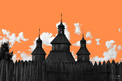 Запорозька Січ (ucrainis) Tags: zaporizhzhia ukraine fortress church culture historical history orange art popart pop clouds fence black white bw cossack old sich sight abstract