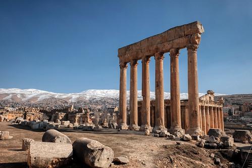Columns of an ancient Roman temple of Jupiter. Baalbek, Lebanon