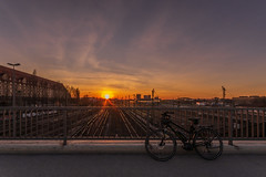 2019 Bike 180: Day 40, March 21 (suzanne~) Tags: 2019bike180 sunset bike bicycle train tracks bridge evening equinox vernalequinox