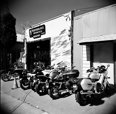 Berkeley, CA (Timothy Lewis Jr.) Tags: analoguefilm analogue blackandwhite blackandwhitefilm bw berkeley holgaphotos holgan holga120n holga trix trixpushed2stops orangefilter kodaktrix motorcycles