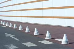Arrow, cones and stripes (Jan van der Wolf) Tags: map174333v arrow pijl stripes strepen cones kegels zebra facade gevel gebouw way weg