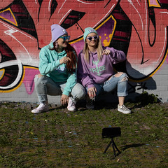 Friends (Sam Codrington) Tags: people selfie streetart outdoor mural streetphotography graffiti london england unitedkingdom gb