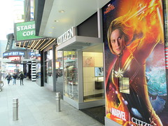 Captain Marvel Billboard Wall AD Times Square NYC 5840 (Brechtbug) Tags: captain marvel space avenger type billboard wall ad times square brie larson carol danvers vers intergalactic soldier shield comic book super hero movie poster theatre holiday ornaments film broadway 43rd street 7th avenue new york city 04122019 nyc advertisement pop popular art mural american star police blue sky march 2019 comics comicbook books comicbooks crime fighter