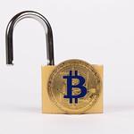 Open padlock with golden Bitcoin on white background thumbnail