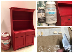 4. Painting and aging (Foxy Belle) Tags: doll furniture make cabinet kitchen old fashioned primitive cardboard box ooak recycle shelf diy cheap inexpensive barbie blythe 16 scale playscale how tutorial cottage style red chalk paint waverly crimson wax brown creme distressed aged worn