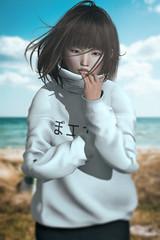 Brrr (Natsumi Xenga) Tags: sl livestream secondlife angi manners session ling catwa hanako japan tram cold h0414 windy beach sweater kawaii cute japanese