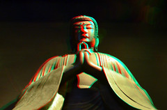 Buddha Japan Museum Volkenkunde Leiden 3D (wim hoppenbrouwers) Tags: anaglyph stereo redcyan buddha japan museum volkenkunde leiden 3d