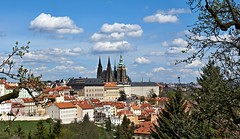 Prague Castle with clouds (Yirka51) Tags: minster cathedral gothic view tree town tower springtime spring sky scenery rooftile roof religion prague park old leaves leaf church christianity chateau house horizon historical historic czechrepublic cloud city centraleurope catholic castle bush building bluesky belltower architecture