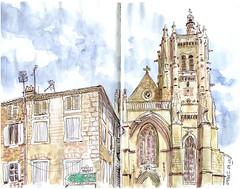 ambert (sylvain.cnudde) Tags: ambert auvergne croquis urbansketch urbansketching urbansketcher eglise church