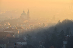 Winter morning in Mala Strana - 1 of 2 (Pavel's Snapshots) Tags: morning fog prague praha winter czech czechrepublic sunny light historic historical district area town city urban europe european old nikon nikkor d750 vivid church towers tower rooftop house houses roof roofs spire spires hill view landmark haze golden ancient medieval mist 120mm heritage soft